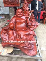 Tượng phật di lặc ngũ phúc, gỗ hương Đaklak nguyên khôi nặng 650kg