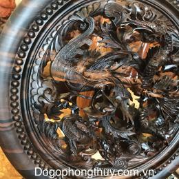 Tranh đĩa tứ linh, gỗ mun hoa cao cấp tinh xảo