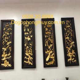 Tranh tứ quý Thông mai trúc cúc gỗ mun hoa dát vàng 24k