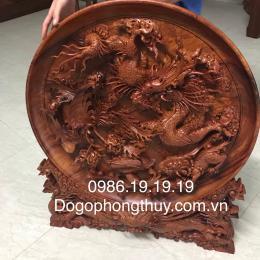 Đĩa tứ linh gỗ hương Gia lai nguyên khối Đk 80cm dày 10cm