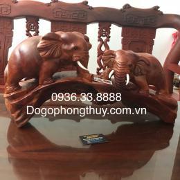 Tượng voi phong thủy, gỗ hương Gia lai nguyên khối