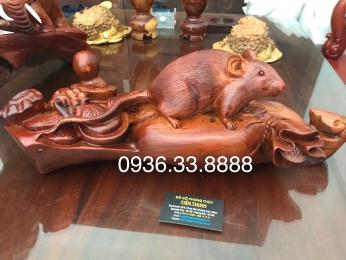 Tượng chuột phong thủy, gỗ Hương Gia Lai nguyên khối
