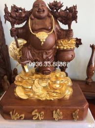 Tượng Phật Di Lặc Ghánh Đào Gỗ Hương Gia Lai Dát Vàng 24k