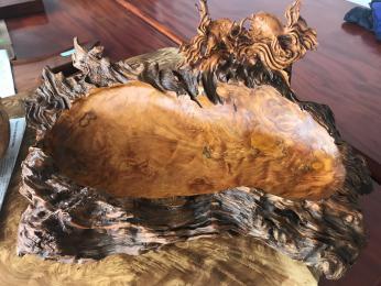 khay trà phong thủy gỗ lũa đục cá vàng