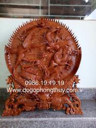Tranh Đĩa Tứ Linh Gỗ Hương Gia Lai, Cao 96cm rộng 80cm dây 10cm