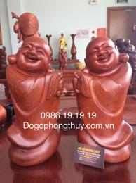 Tượng di lặc phật chúc phúc, gỗ hương gia Lai nguyên khối