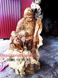 Tượng Ông Thọ Gỗ Nu Giáng Hương Gia Lai nguyên khối