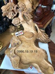 khay trà phong thủy, gỗ ngọc am Hoàng Su Phì nguyên khối, đục cây tùng dáng siêu