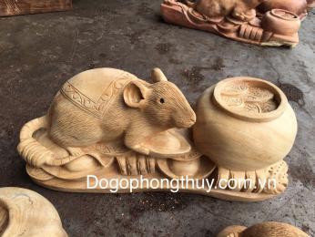 Tượng Chuột Phong Thủy gỗ ngọc am