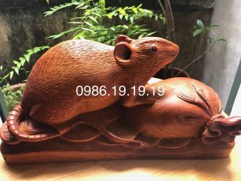 Tượng Chuột gỗ phong thủy nguyên khối