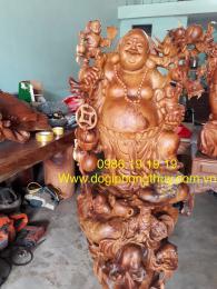 Tượng Di Lặc Ngũ Phúc Gỗ Hương krongpa Gia Lai nguyên khối nặng hơn 200kg