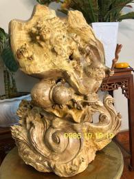 Tượng Đạt Ma Thế Võ Gỗ Nu Nghiến, Cao 60cm Rộng 42cm Sâu 30cm