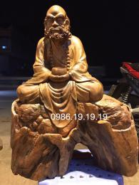 Tượng Đạt Ma Ngồi Thiền Gỗ Bách Xanh Mộc Châu Nguyên Khối