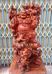 Tượng Di Lặc Ngũ Phúc Gỗ Cẩm Lai, Cao 1m06 Rộng 50cm Sâu 40cm