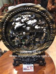 Tranh Tứ Linh Gỗ Mun Hoa Đk 40cm Cao 50cm Dày 4cm