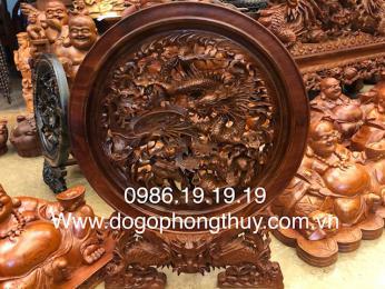 Tranh Đĩa Tư Linh, Cao 60cm đk 50cm dầy 6cm, Gỗ Hương Gia Lai nguyên khối