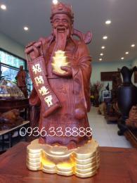 Tượng thần tài gỗ hương Gia Lai Dát Vàng 24k