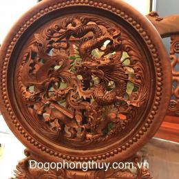 Tranh Đĩa Tứ Linh Gỗ Hương, Cao 50cm đk 40cm dầy 4cm