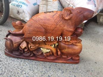 Tượng Chuột Gỗ Hương Gia Lai Nguyên khối