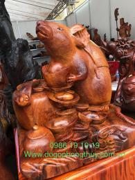 Tượng Chuột Tài Lộc, Gỗ Hương Gia Lai Nguyên Khối Khủng Nhất Hà Nội