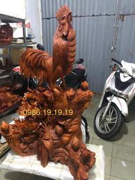 Tượng Đàn Gà Phong Thủy khủng , Gỗ Hương Gia Lai