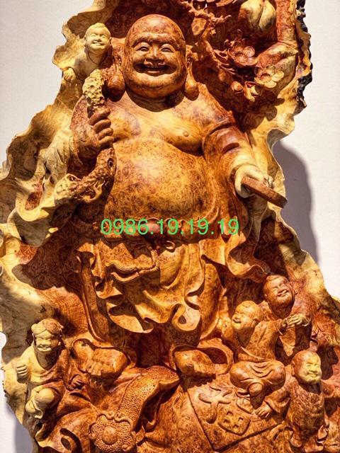 Tượng di lặc Gỗ Nu Hương Gia Lai Cao Cấp .