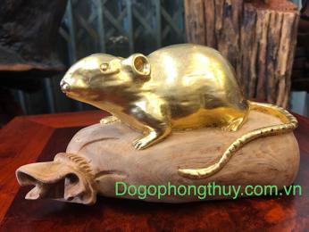 Tượng chuột tài lộc gỗ ngọc am dát vàng 24k