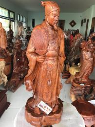 Tượng khổng minh, gỗ hương gi lai nguyên khối