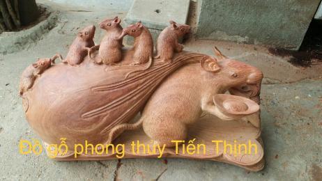 Tượng Chuột kéo bao tiền ngũ phúc gỗ hương Gia Lai