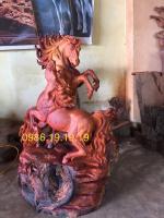 Tượng Song Mã Gỗ Hương Krongpa Gia Lai