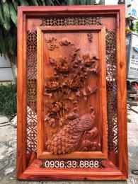 Tranh Chim Công Hoa Mẫu Đơn, gỗ hương Gia Lai nguyên khối