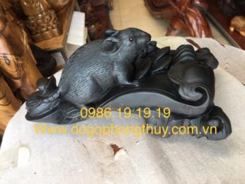 Tượng Chuột Tài Lộc Gỗ Mun Sừng khánh Hòa
