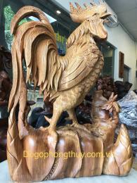 Tượng Gà Trống gỗ hương, cao 70cm rộng 50cm sâu 20cm