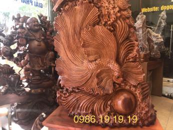 Tượng Cá Xiêm gỗ hương liền khối. Cao 90cm