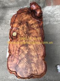 Khay trà Con He chun chớp gỗ Hương