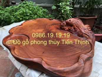 Khay trà cá chép vượt vũ môn gỗ hương