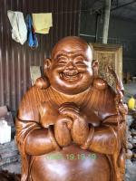 Tượng di lặc chúc phúc gỗ Hương to