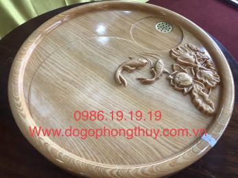 Khay trà cá chép gỗ bơmu